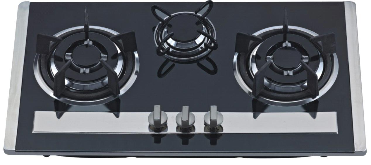 Exceptional NG/LPG,Stainless Steel/black Tempred Glass 3 Burner Gas Cooktop, Gas