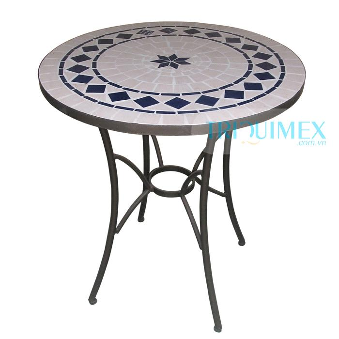 Wrought iron and ceramic mosaic round table