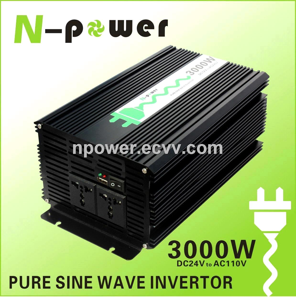 3000W Pure Sine Wave DC24V to AC110V Power Inverter with USB