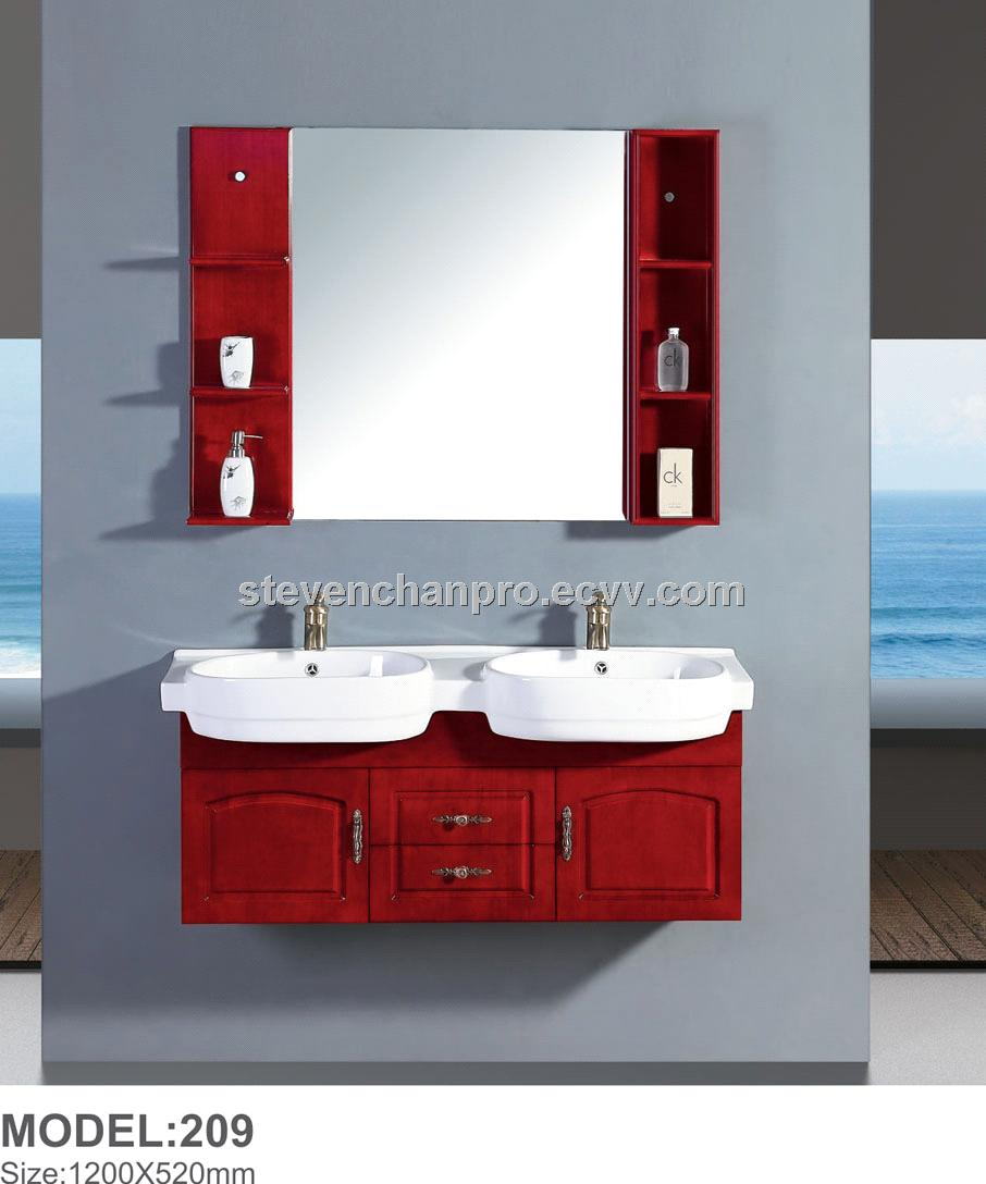 Double Sinks Bathroom Furniture Wall Bathroom Cabinets With Ceramic
