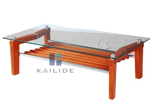 High Quality Clear Glass And Orange Wood Mdf Coffee Table Furniture