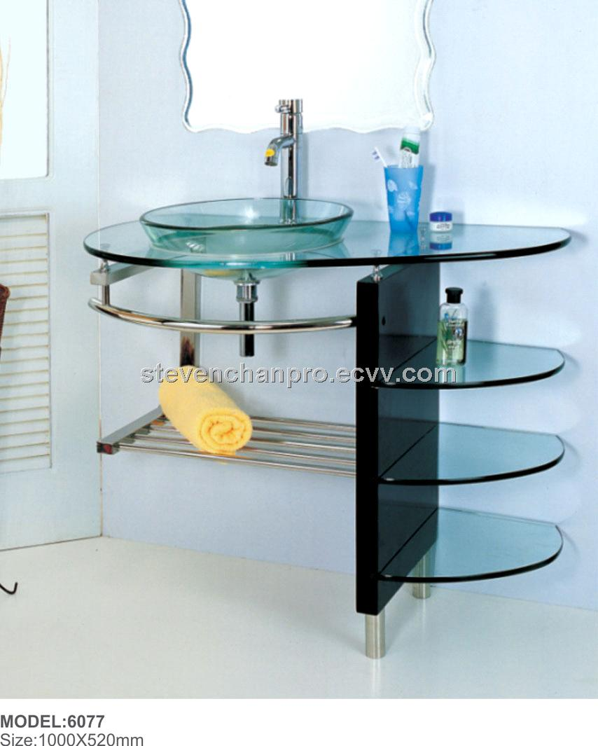 Tempered glass basin with solid wood & Stainless steel frame+mirror ...