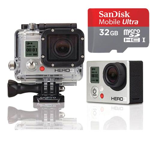 NEW GOPRO HERO 3+ BLACK EDITION W/ LCD TOUCH BACPAC & SD CARD CHDMX