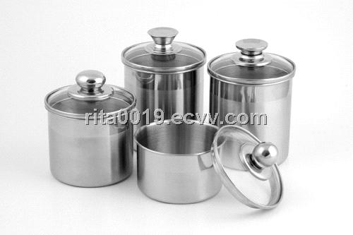 Stainless Steel Food Canister With Glass Lid Set Ss Food Pots For