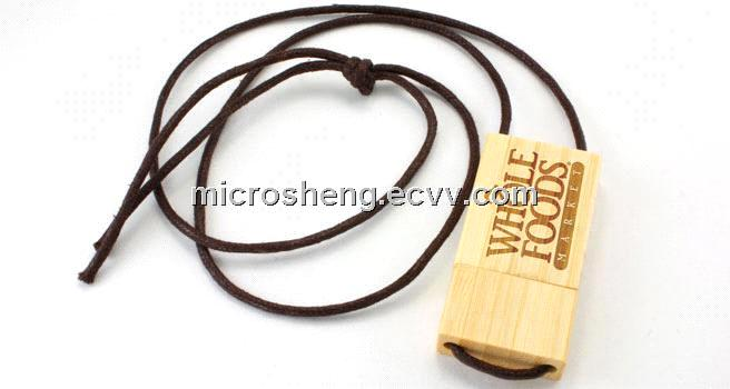 Hotsale Wooden Custom USB Flash Drive with Lanyard