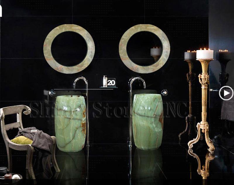 Green Onyx Barrel Pedestal Sink Bathroom Project 12