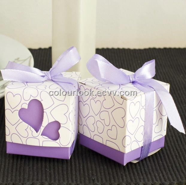 Cube Shaped Wedding Favour Gift Box Purple Hearts With Ribbon Design