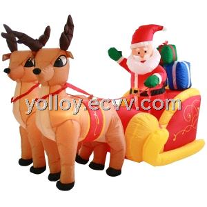 Outdoor Inflatable Sleigh with Santa and Reindeer