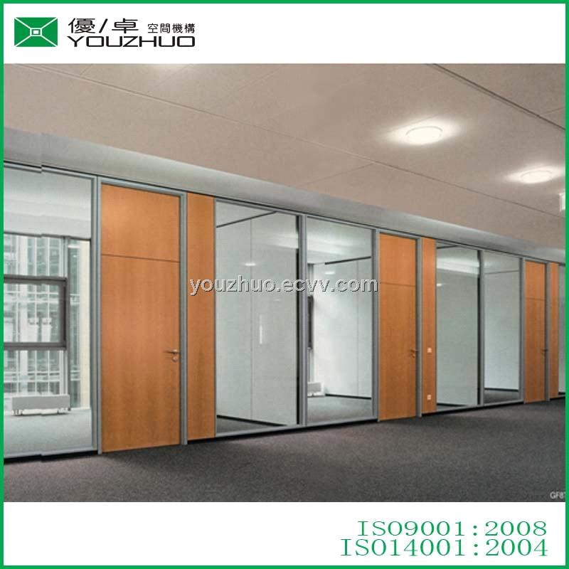 V828-8 Morden Fixed High Decorative Glass Partition Wall with Panel