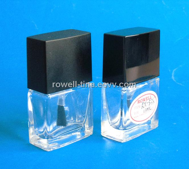 11ml square clear glass nail polish bottle with plastic cap ...