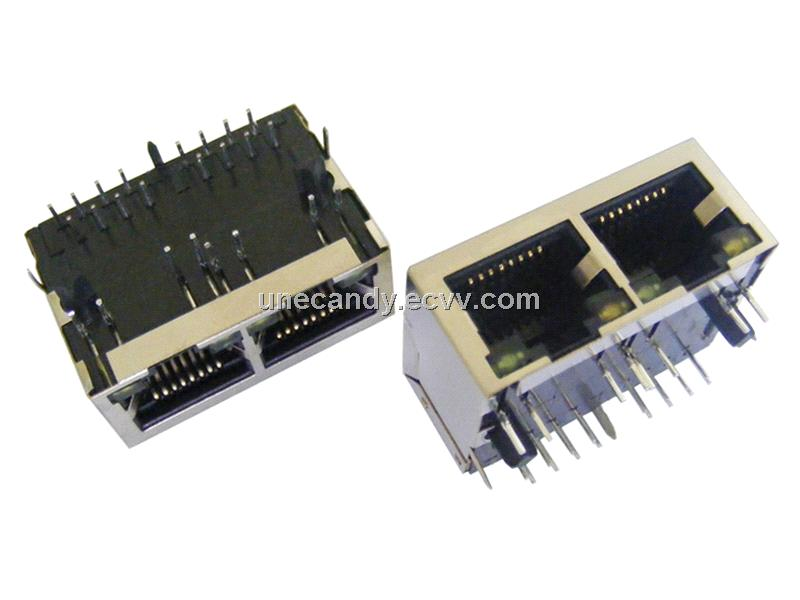 1x2 Ganged RJ45 Connector with 10/100Mbps Magnetics