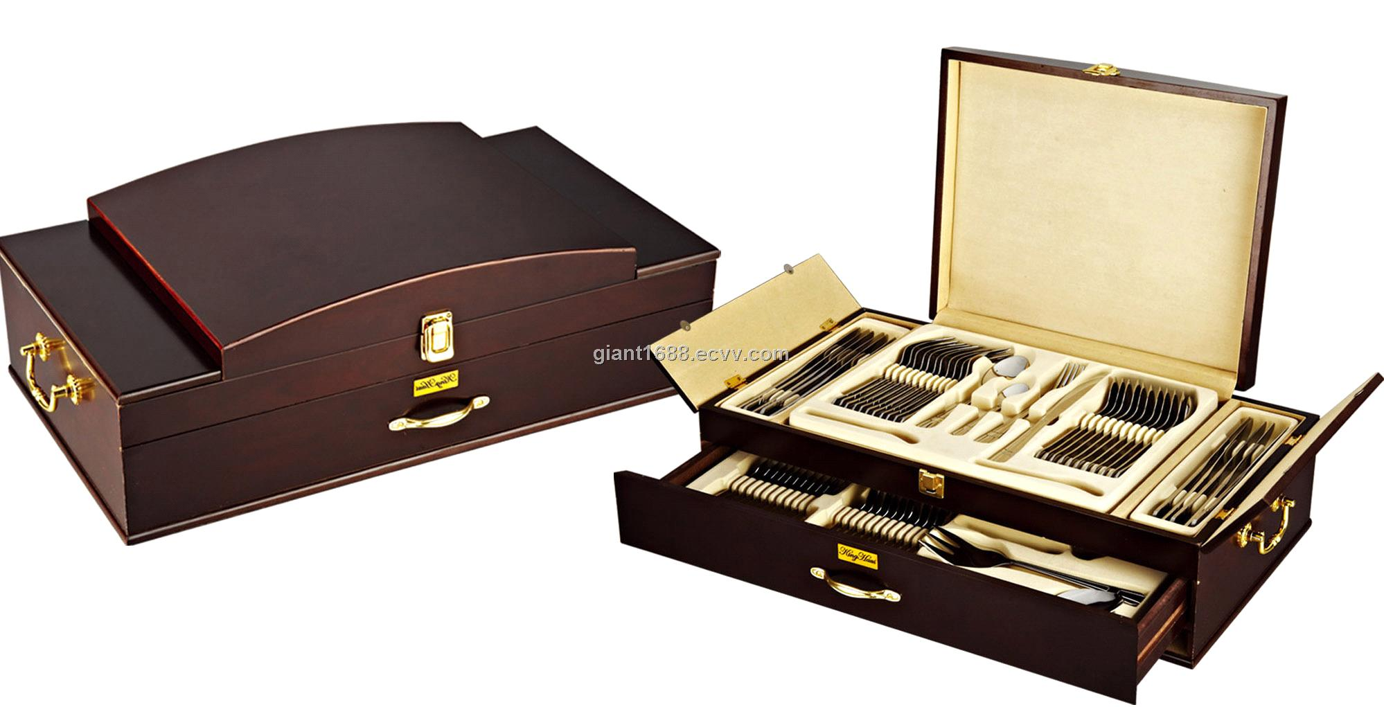 84pcs Stainless Steel Golden Cutlery Set With Wood Box