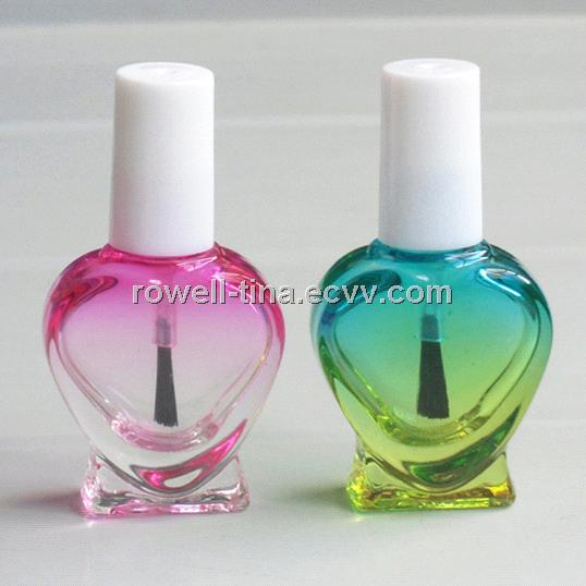 8ml Colored Heart Shaped Glass Nail Polish Bottle