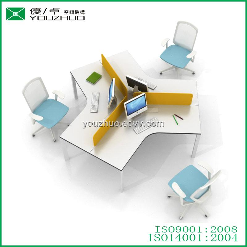 L7 Triangular Steel Tube Braced Frame White Office Desk for 3 Person with Acrylic Table Partition