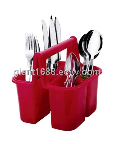 Plastic Handle Cutlery Set with Plate Basket GP183