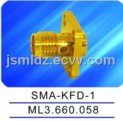 SMA female connector with flange,microstrip,thread coupling