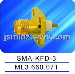 SMA female connector,with flange,microstrip,thread coupling,SMA-KFD-3