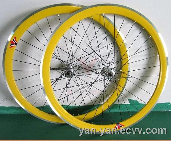 700C Yellow fixed gear bike wheel sets