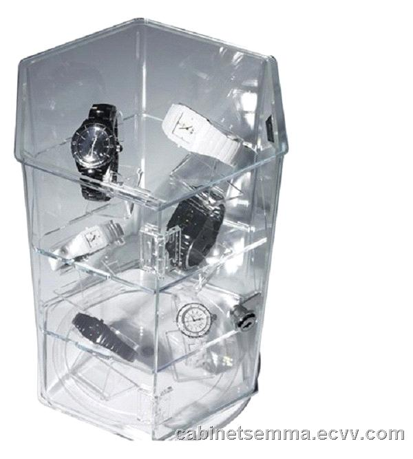 Lockable Rotating Acrylic Display Cabinet Clear Perspex