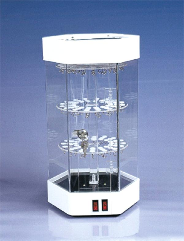Attractive Revolving Acrylic Jewelry Display Showcase LED Lighting Perspex  UU34