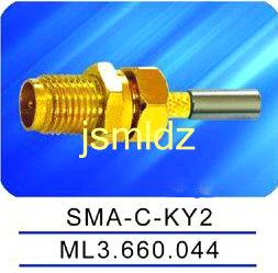 SMA female connector,straight,crimp,thread coupling,mounted with nut