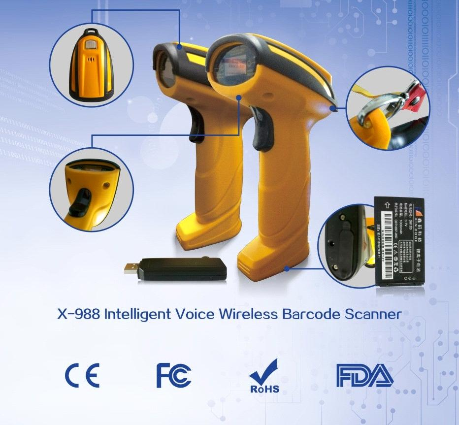 XINCODE Wireless Barcode Scanner with Voice Guidance&Memory&Removable  Battery X-988