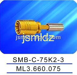 free shipping,SMB female connector ,75ohm impedence,crimp style,3 layers of braid shield