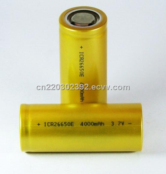 high capacity 26650 3.7v 4000mah ICR26650E rechargeable battery cells
