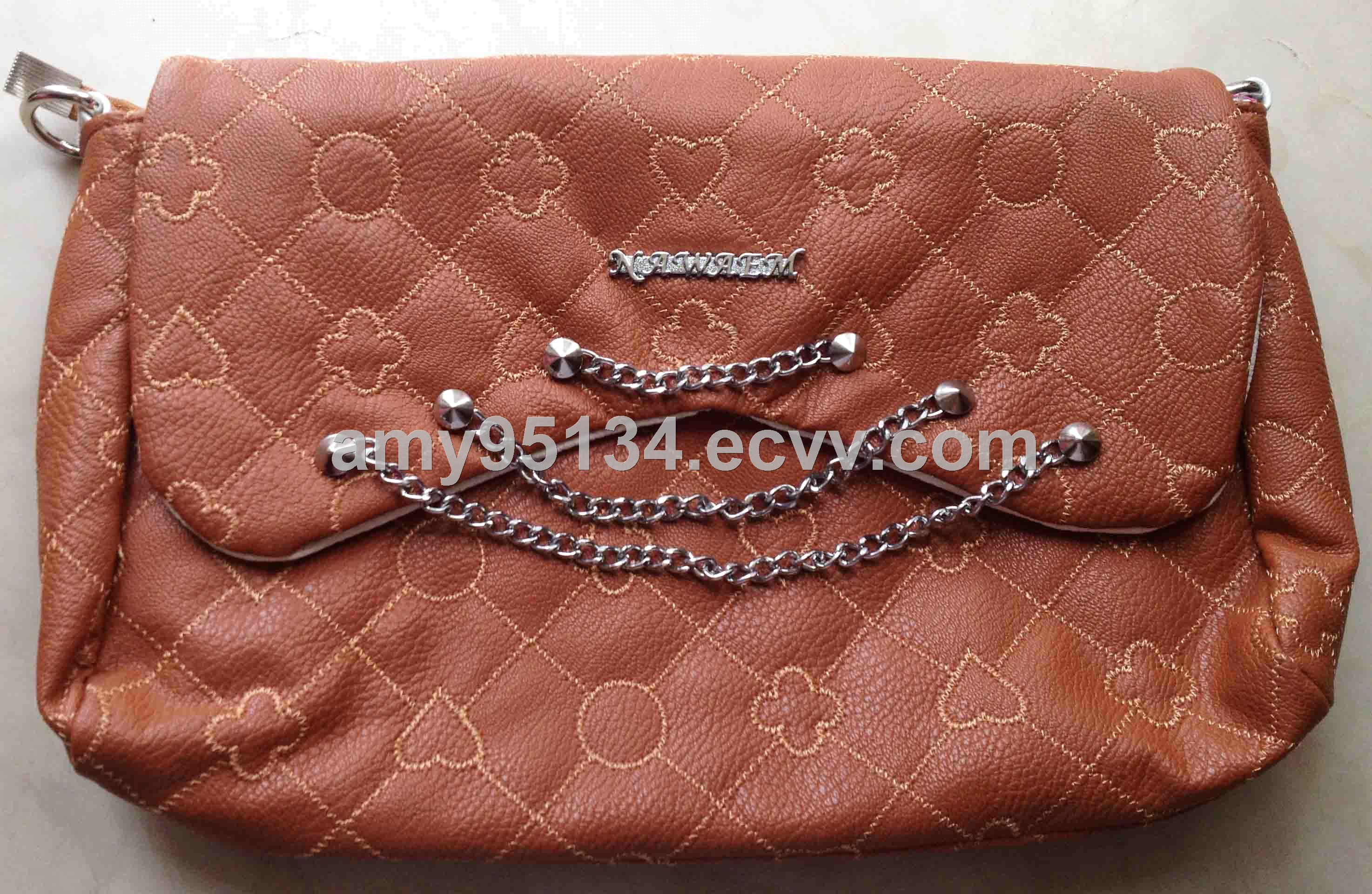 Cheapest PU Leather Embroidery Women Totes Long Chain Ladies Shoulder Bags with Two Pockets