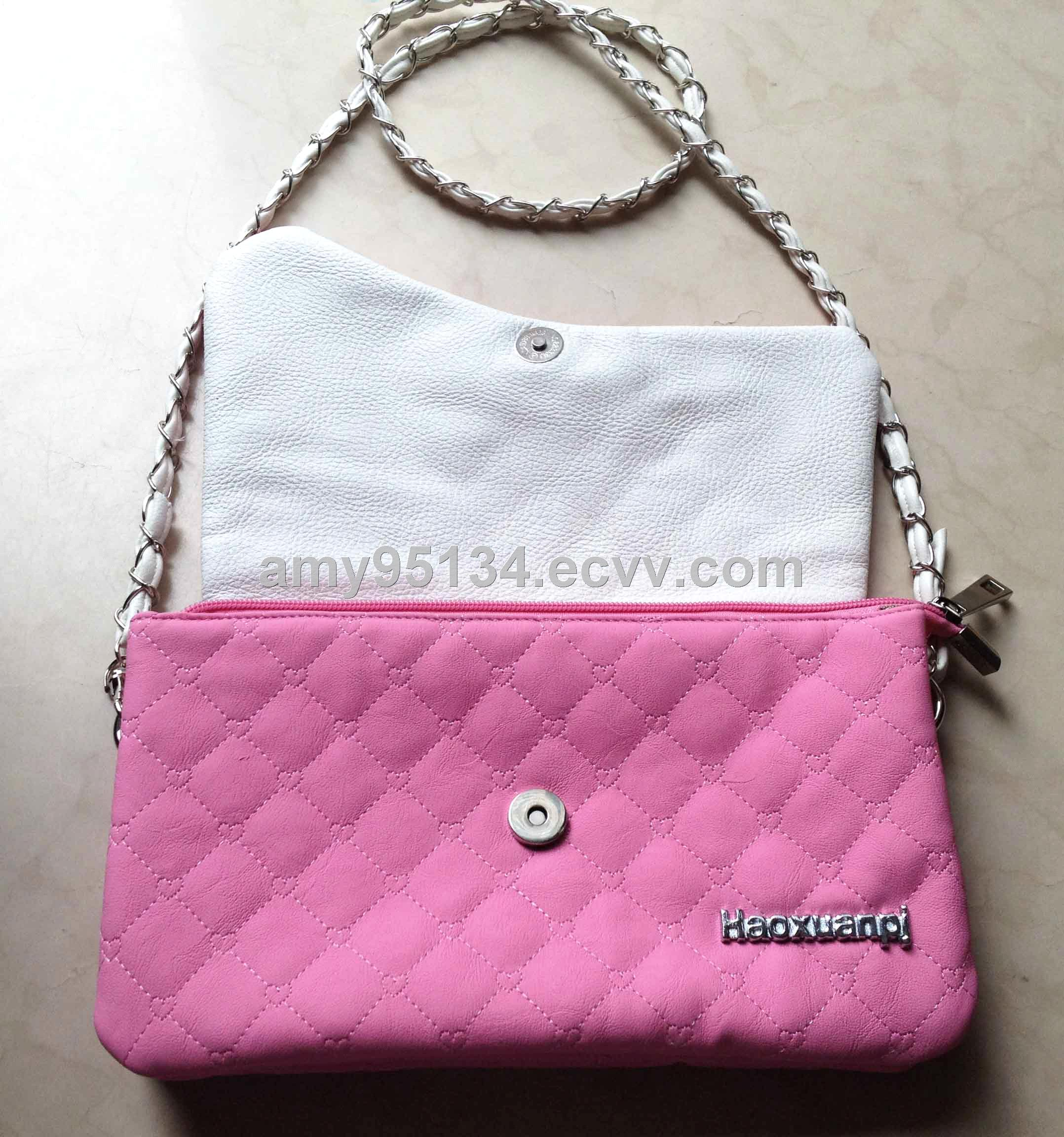 4c529e0db28 PU Leather Embroidery Lovely Pink Women Totes Double Main Pockets Shoulder  Bags With Long Chain Belt
