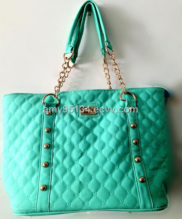 Pu Leather Embroidery Women Totes Double Chain Handle Shoulder Handbags