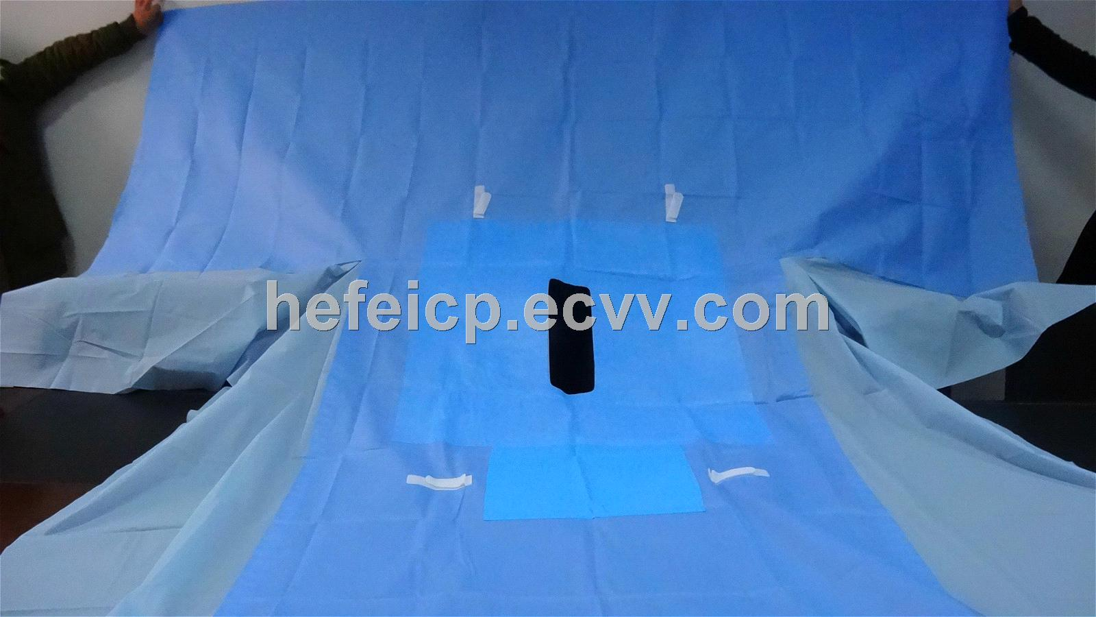 Fenestrated Disposable Non-woven Surgical Laparotomy Drapes