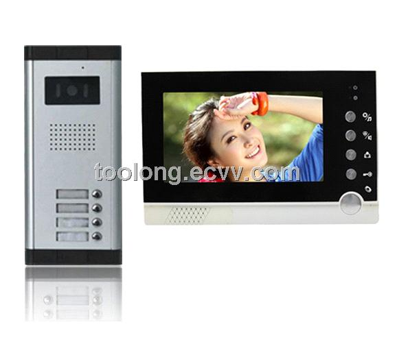 Home 7inch Video Door Entry Intercom System for 4apartments