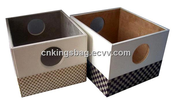 Home And Office Faux Leather Storage Basket Box, Storage Box