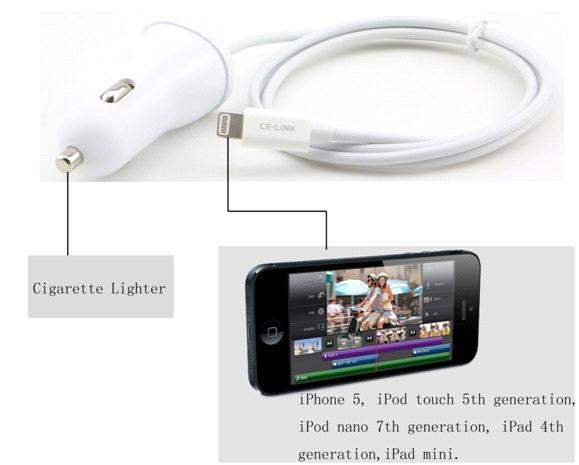 Apple MFi smart 5V/2.4A output Car charger with Lightning Cable