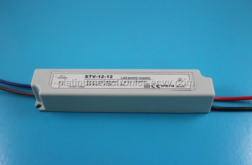 12W 1A 12V Waterproof IP67 Constant Voltage LED Power Supply Transformer