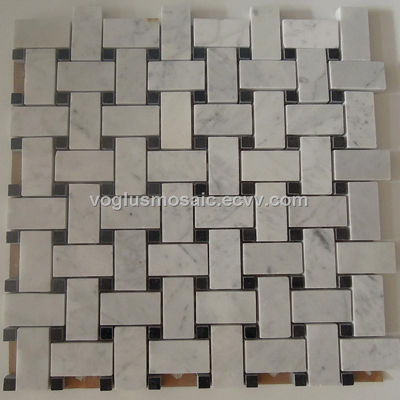 Polished Basket Weave Carrara White Marble Mosaic