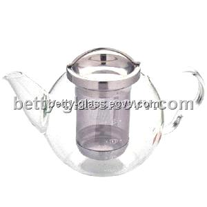 New Style Glass Tea Pot with Stainless Steel Strainer/600ML Glass Teapot