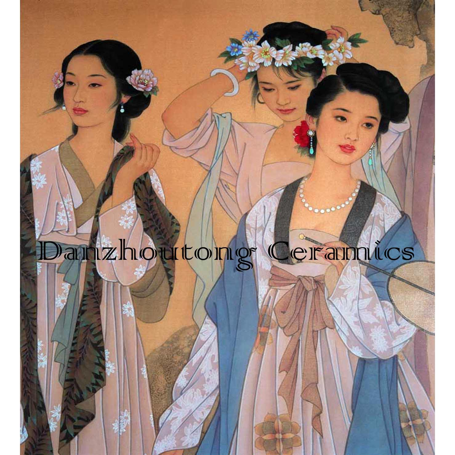 Chinese beauties printed on ceramic tile