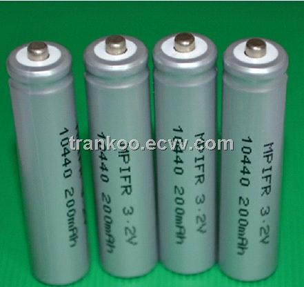 Li phosphate cell consumer type replace Lithium battery AAA LiFePO4 10440 3.2v 200mAh