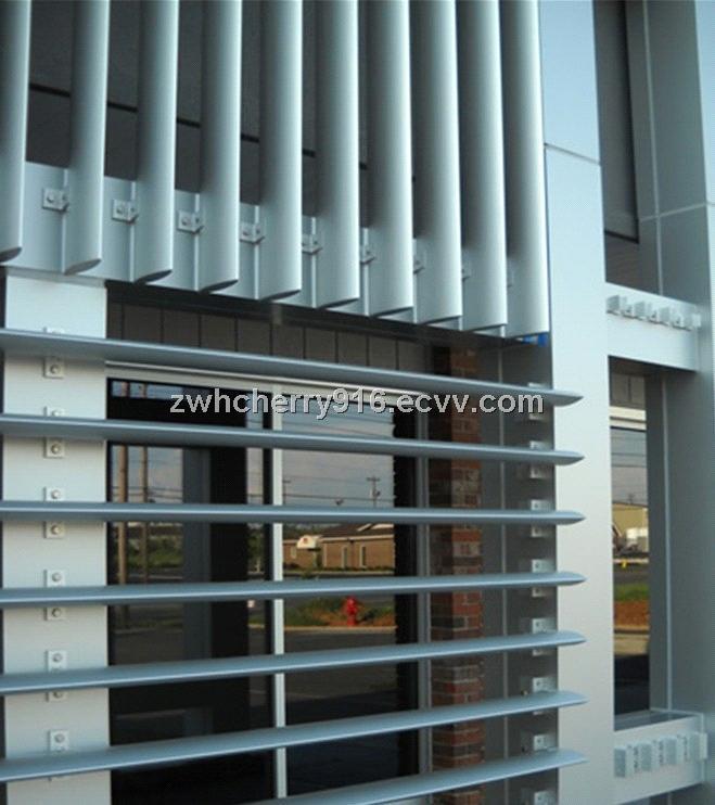 Glass Louver Facade : Aerofoil louver blade horizontal vertical aluminum