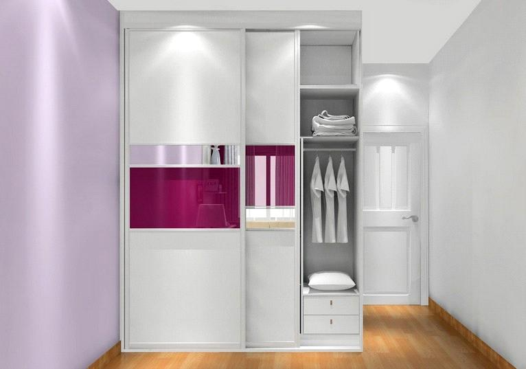 White U0026 Pink Color Wardrobe,sliding Door ,modern Design