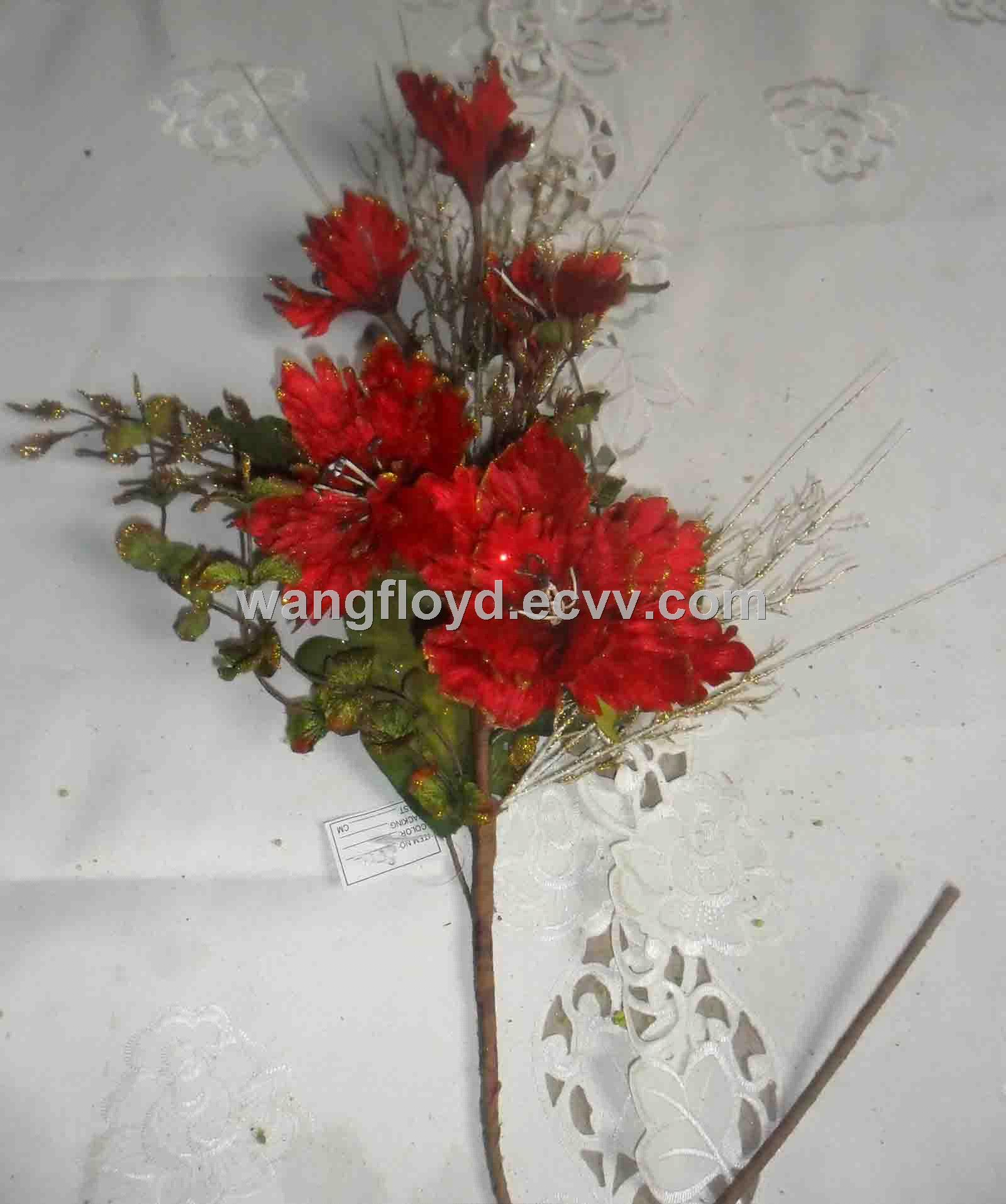 Fancy Artificial Flowers Bunch Composed Of Silk Flowers And Leaves