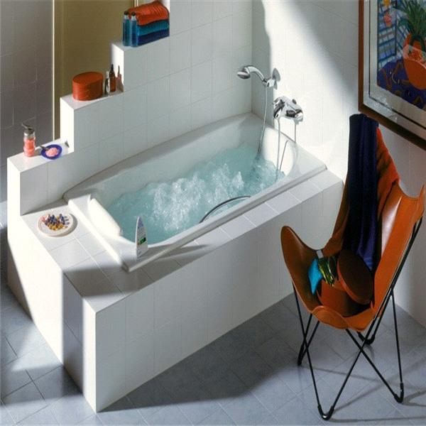 three wall alcove soaker bath tub with armrests