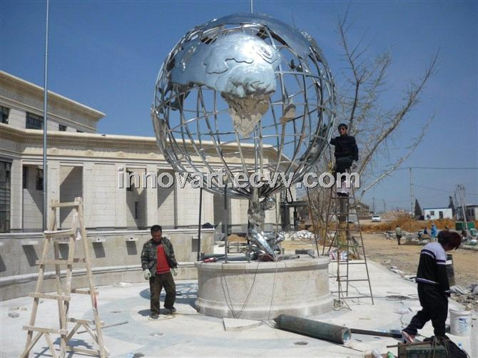 large stainless steel globe