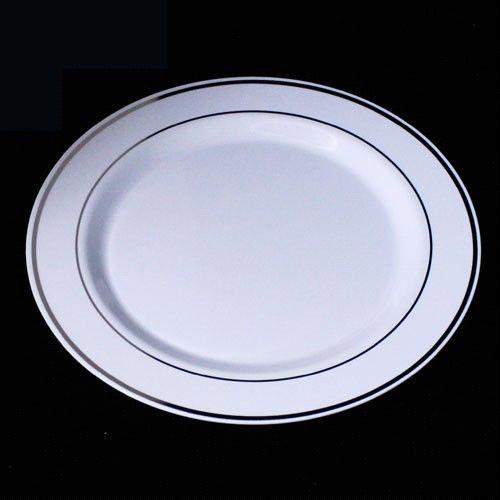 Plastic Plate with Silver Rim