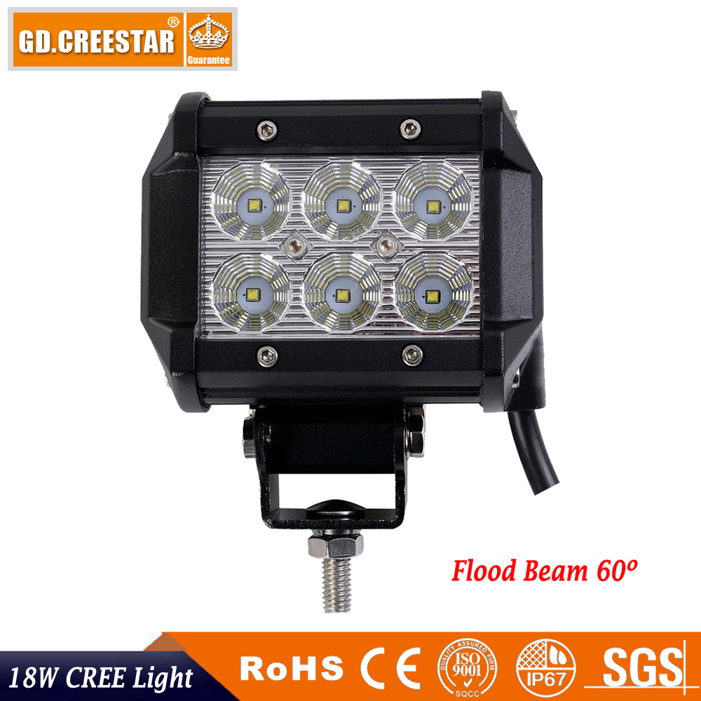 GDCREESTAR 18W LED Work Light bar ATV Off Road Light Lamp Fog Driving Light For 4x4 Offroad SUV Car Truck Trailer Tractor UTV X1