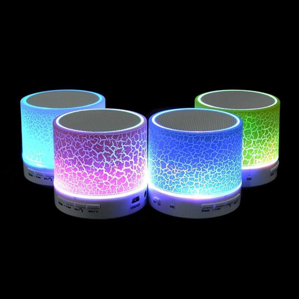 Mini Bluetooth Crack LED Light Speaker w/ Hands-Free Calls TF Slot USB FM Radio  Night Light Luminaria