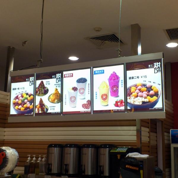 Black Colour Aluminum Frame LED Backlit Cafe Shop/Restaurant