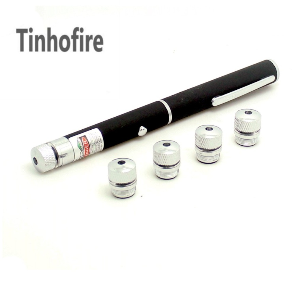 Tinhofire 5 in 1 Red Laser Pointer Pen 100MW Star Effect Caps +5 Laserheads Lazer Light